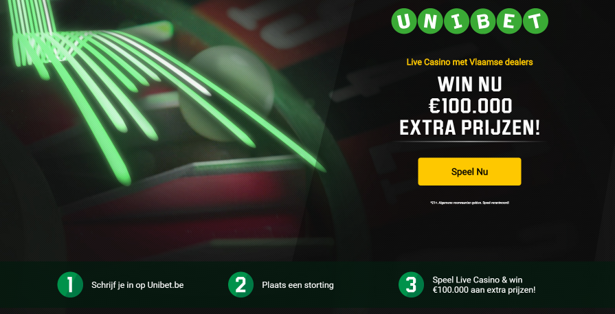 Unibet tombola in het live casino win tot €25.000,-